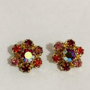 Vintage Austria Rhinestone Flower Earrings